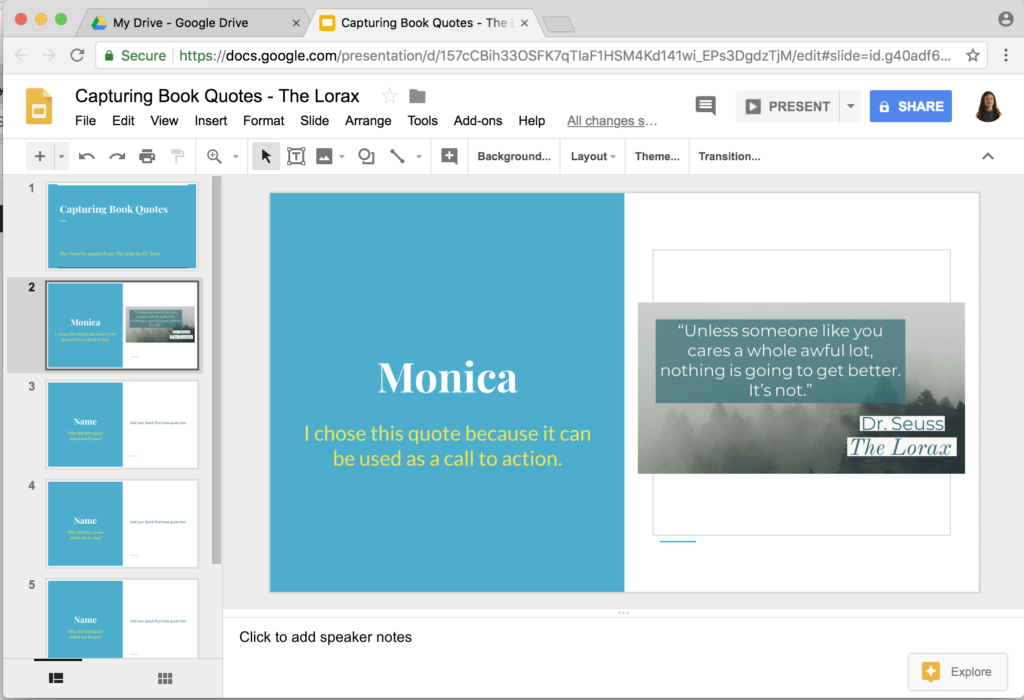 sharing adobe spark creations with google slides class tech tips