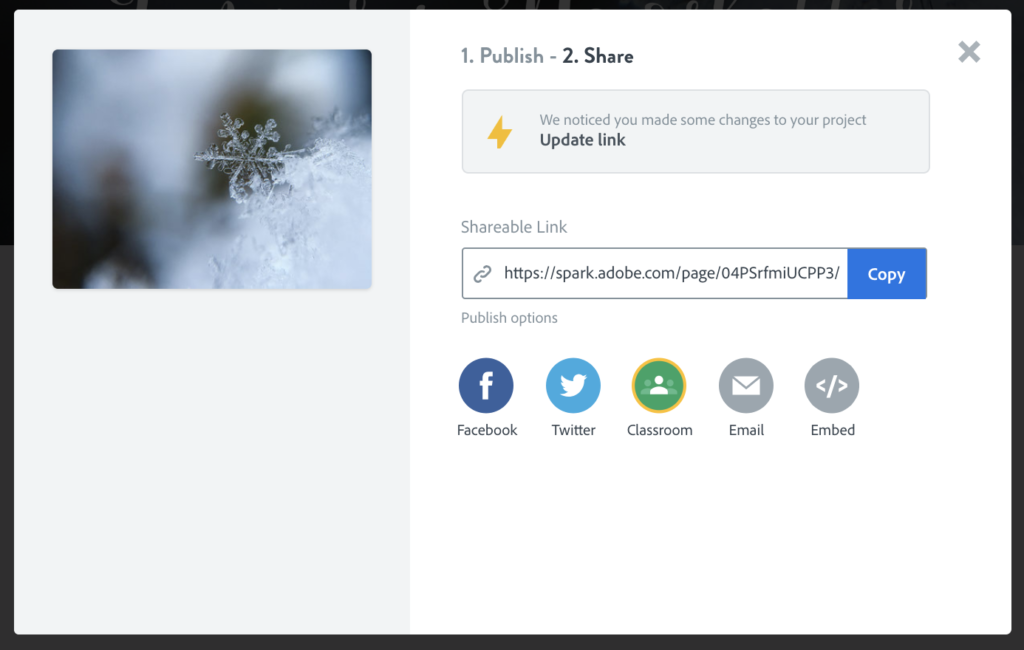 One thing I love about Spark Page is how easy it is to update the link to the published page after you've made a few edits. Learn how to use Spark Page for teacher projects.
