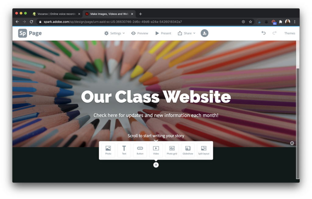Sample of class website to create Spark Page.