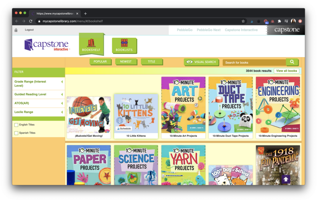 Interactive ebook dashboard
