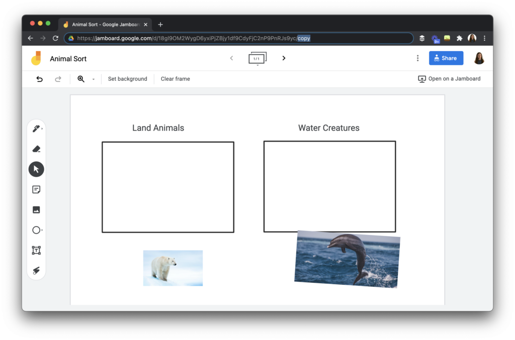 A sorting activity for students using Jamboard.