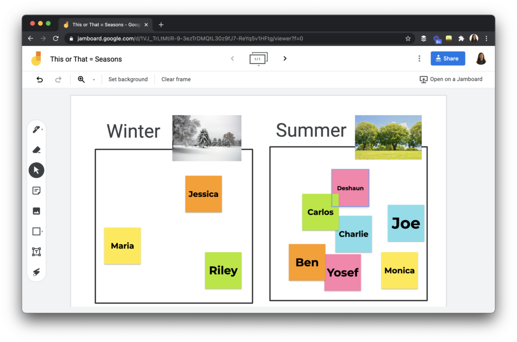 A this or that, would you rather activity using Jamboard.