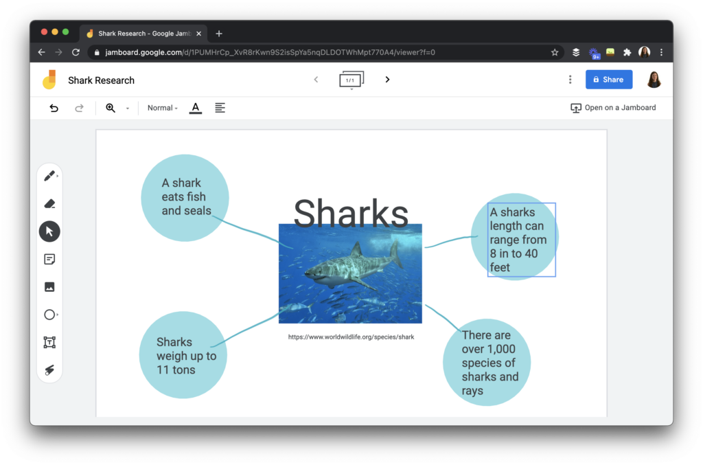 A mind mapping activity for students to organize their thinking with Jamboard.