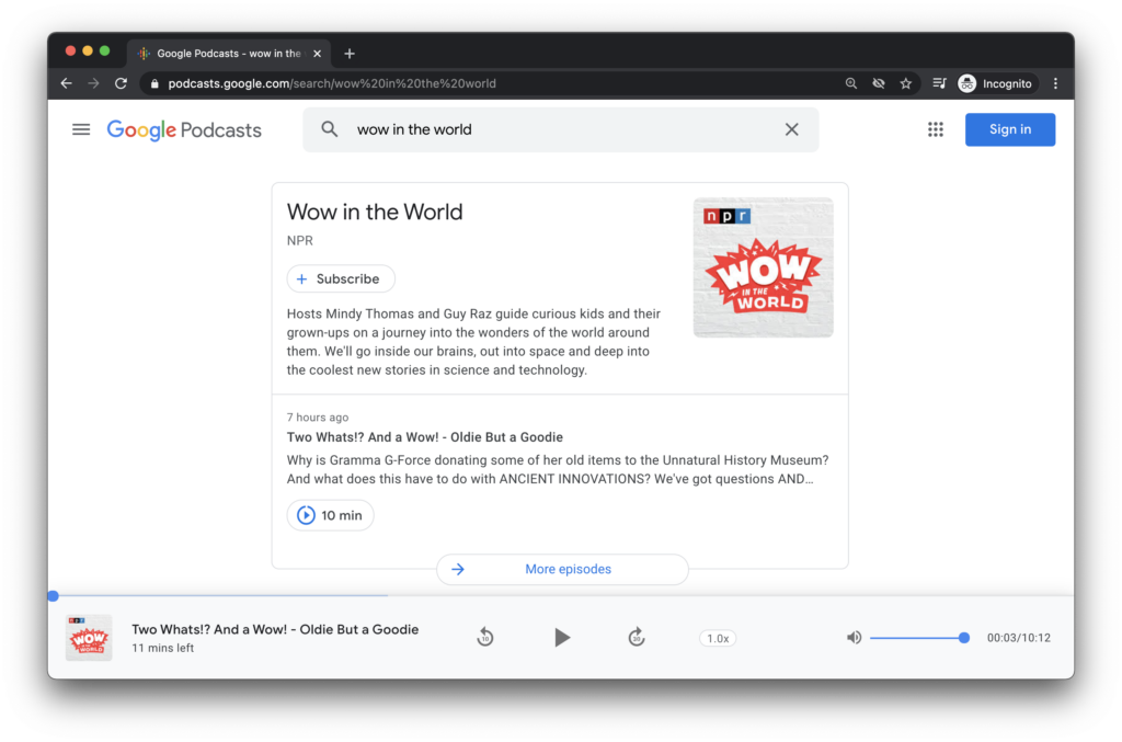 Google Podcast dashboard where you can find a podcast with a quick keyword search.