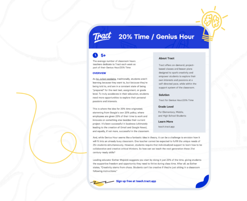 Learn how to use Tract to bring project-based learning to your classroom, build social-emotional skills, and support Genius Hour.