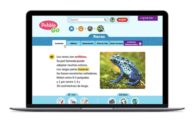 Learn about where to find Spanish language resources to support English Language Learners in PebbleGo's platform for elementary school.
